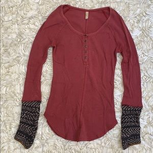 Free People Embellished Thermal Tee Size M